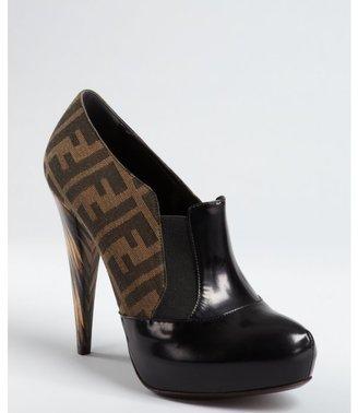 Fendi black zucca canvas and leather cone heel platforms
