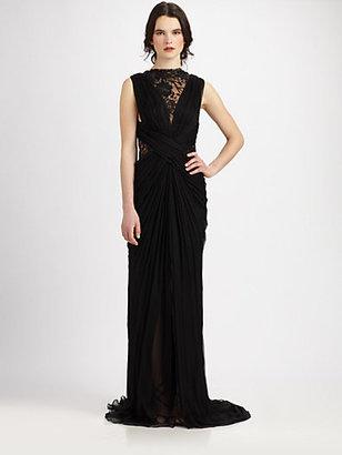 Tadashi Shoji Lace Inset Silk Gown
