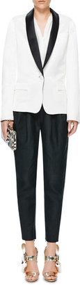 Rodarte Silk and Linen Blend Tuxedo Jacket