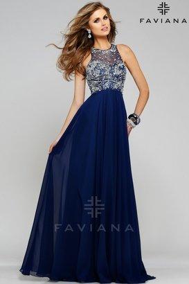 Faviana - s7560 Chiffon v-neck evening dress with beaded bodice $398 thestylecure.com