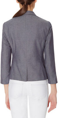 The Limited Dotted Chambray One Button Blazer