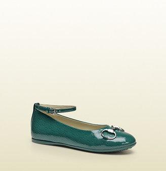 Gucci Microguccissima Patent Leather Horsebit Ballet Flat