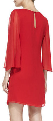 Alice + Olivia Odette Sheer-Sleeve Fitted Dress, Red