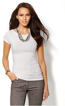 New York & Co. Side-Shirred Boat-Neck Top - White