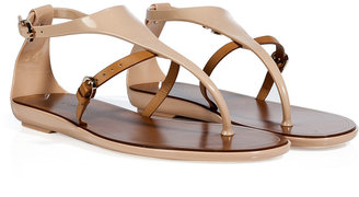 Sergio Rossi Nude/Beige PVC/Leather Thong Sandals