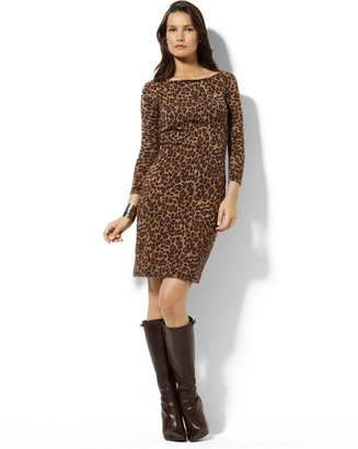 Lauren Ralph Lauren Long Sleeve Toast Leopard Sweater Dress