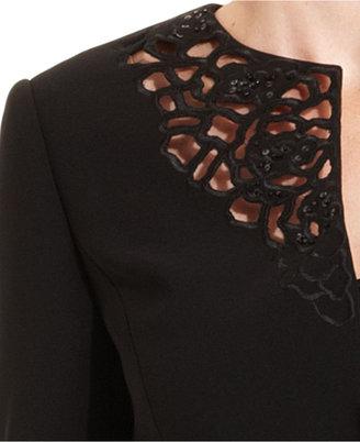 Tahari by Arthur S. Levine Tahari by ASL Suit, Beaded Lasercut Jacket & Skirt