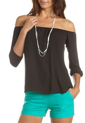 Charlotte Russe Off-the-Shoulder Chiffon Top