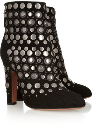 Alaia Studded cutout suede ankle boots