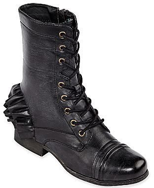 Betseyville by Betsey Johnson Gia Ruffle-Heel Lace-Up Boots