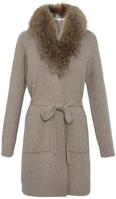 Gerard Darel Long Poeme Cardigan With Fur Collar