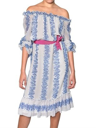Luisa Beccaria Silk Georgette Off Shoulders Dress