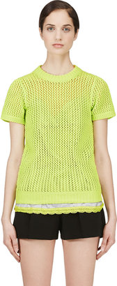 Sacai Luck Charteuse Open Knit Layered Top $580 thestylecure.com