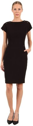 Rachel Roy Sheath Short Sleeve Dress (Black) - Apparel