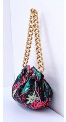 Jimmy Choo excellent (EX Black Floral Print Gold Chain Shoulder Bag