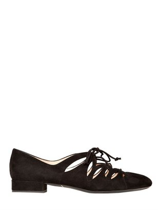 Giorgio Armani 20mm Suede Lace Up Cut Out Loafers