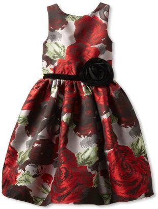 Us Angels Girl's 7-16 Flower Brocade Dress
