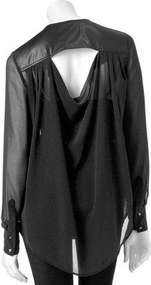 Rock & Republic faux-leather trim chiffon shirt - women's