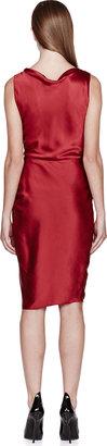 Lanvin Red Silk Satin Check Dress