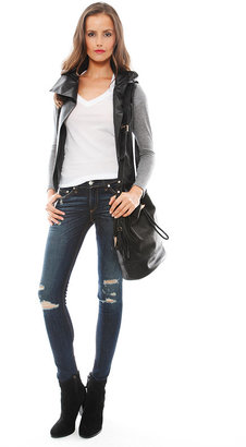 Singer22 Generation Love Theo Leather Combo Cardigan in Black/Grey