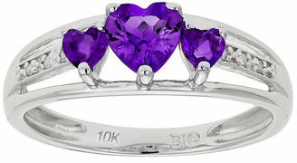 FINE JEWELRY Genuine Amethyst & Diamond-Accent Heart-Shaped 3-Stone 10K White Gold Ring