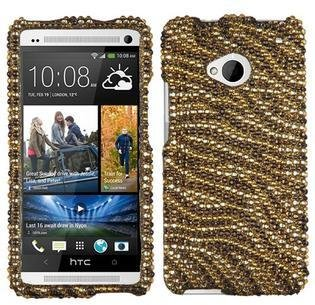 HTC Aimo Aimo ONEHPCDM089NP Dazzling Diamante Bling Case for One/M7 - Retail Packaging - Tiger Skin (Camel/Brown