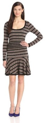 Tracy Reese Women's Fit and Flare Printed Long Sleeve Jersey Dress
