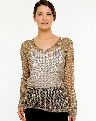Le Château Mesh Scoop Neck Sweater