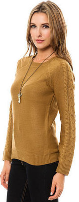 Obey The Nottingham Cable Sleeve Sweater in Bone Brown