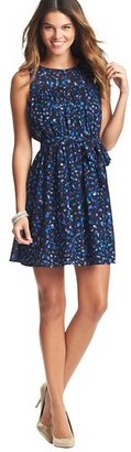 LOFT Tall Watercolor Spot Print Tie Waist Dress