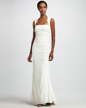 Nicole Miller Square-Neck Gown