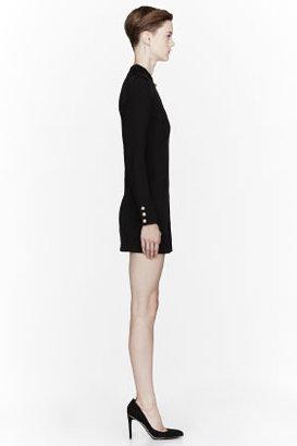 Balmain Black wool slit short Dress