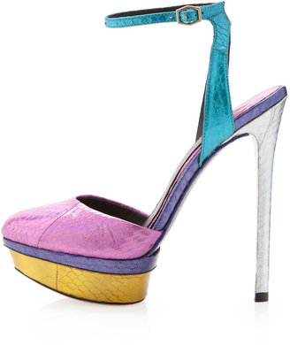 Brian Atwood B by Fontenay Colorblock Metallic Ankle-Strap Pump, Dark Pink