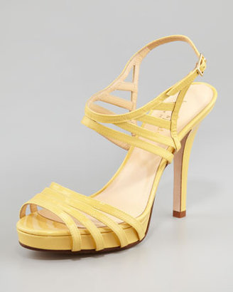 Kate Spade Raven Patent Leather Cage Sandal, Yellow