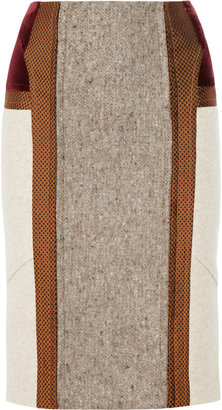 Etro Paneled wool-blend pencil skirt