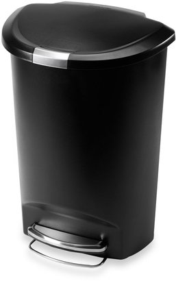 Simplehuman 50-Liter Semi-Round Plastic Step Trash Can in Black