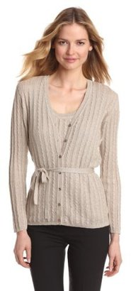 Jones New York Women's Petite Long Sleeve V-Neck Cable Belted Cardigan Sweater