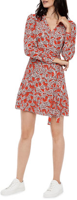 Diane von Furstenberg Saville Abstract Printed Faux-Wrap Dress