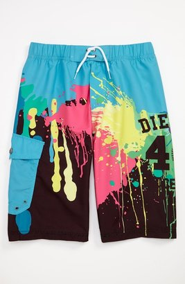 Diesel 'Paint Splatter' Swim Trunks (Big Boys)