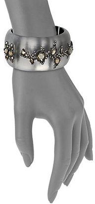 Alexis Bittar Imperial Noir Lucite, Pyrite & Crystal Lace Wide Bangle Bracelet