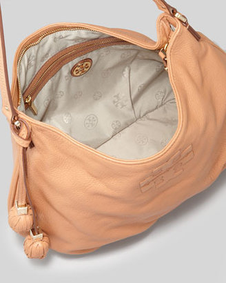 Tory Burch Thea Pebbled Leather Hobo Bag, Nutmeg