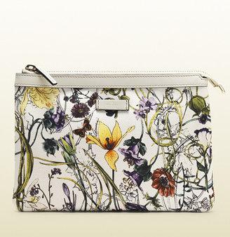 Gucci Mini Infinity Flora Print Canvas Zip-Top Pouch