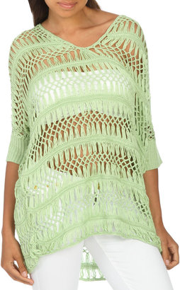 Arden B 3/4 Sleeve Crochet Sweater