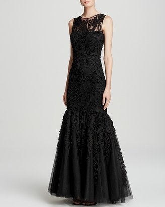 JS Collections Gown - Chiffon Soutache Mesh Mermaid Hem $358 thestylecure.com