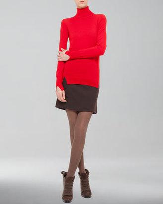 Akris Punto Kilt-Back Wool Miniskirt