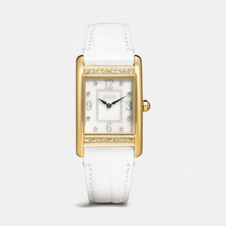 Coach Lexington Large Gold Plated Crystal Strap Watch