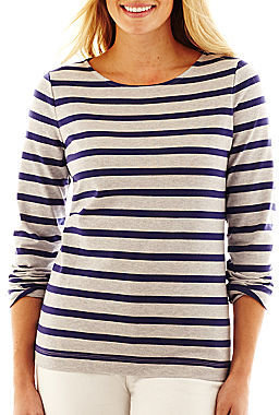 Liz Claiborne Long-Sleeve Striped High-Low Tee - Talls