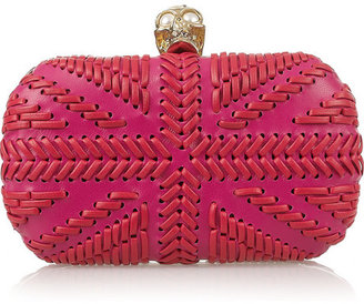 Alexander McQueen Skull woven leather box clutch