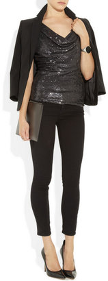 Donna Karan Icons sequined silk and stretch-jersey top