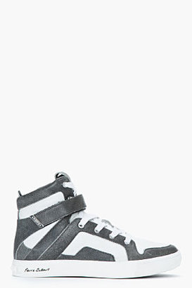 Balmain PIERRE Grey leather high-top Sneakers